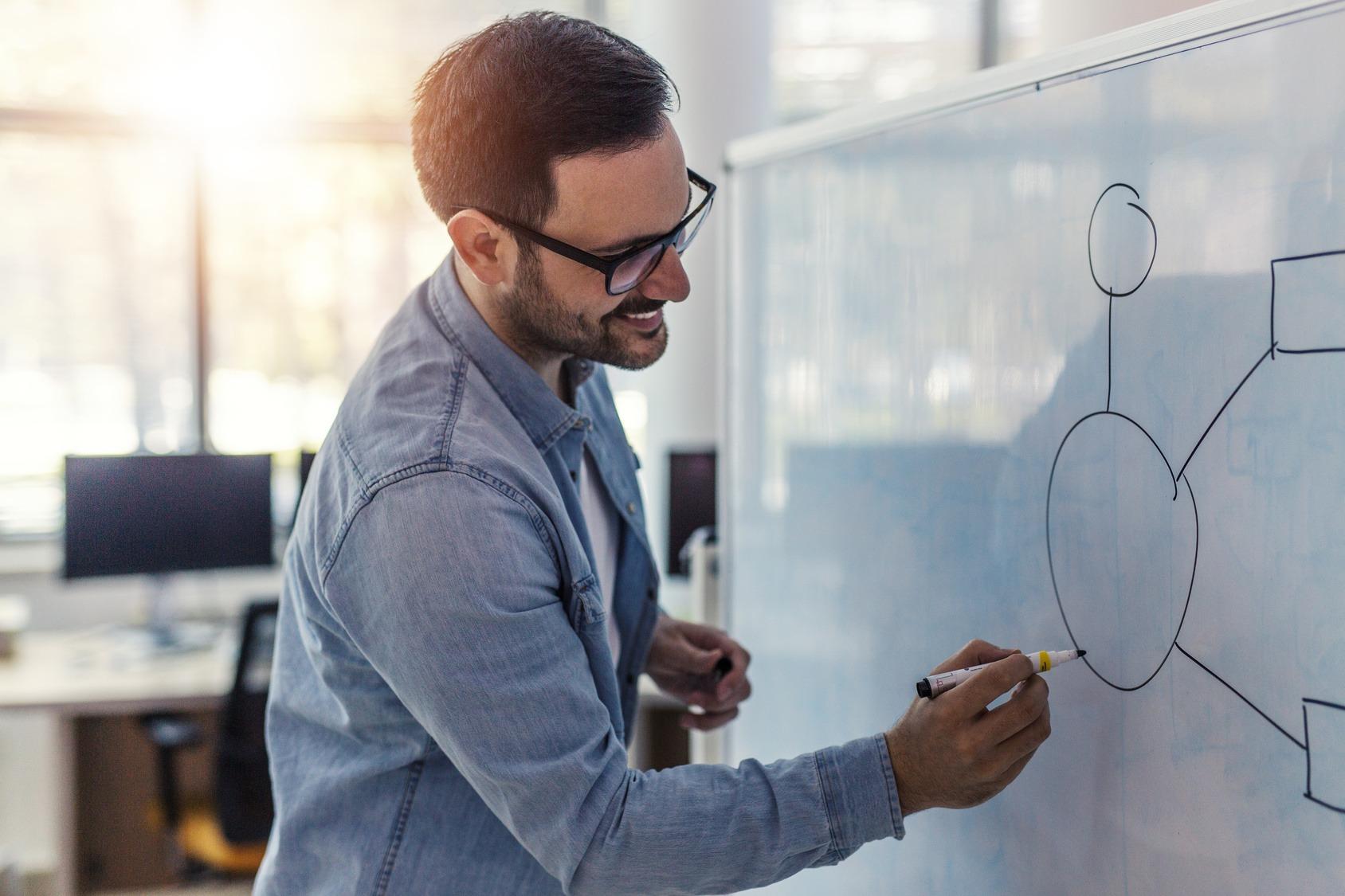 Ein junger IT Systemadministrator der gerade eine Mindmap auf ein Whiteboard zeichnet.
