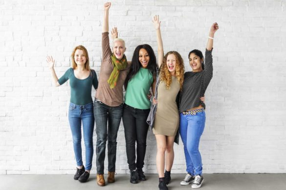 Happy women celebrate woman-day