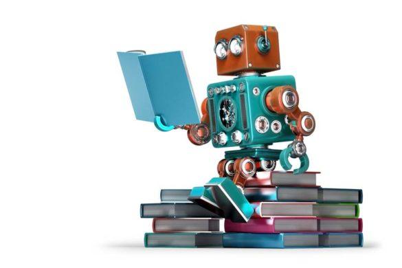 Kleiner Roboter beim parallel lernen