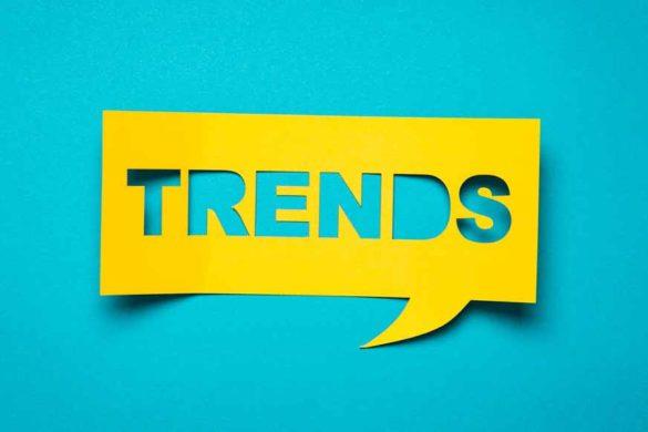 """Eine gelbe Sprechblase auf der """"Trends"""" steht."""