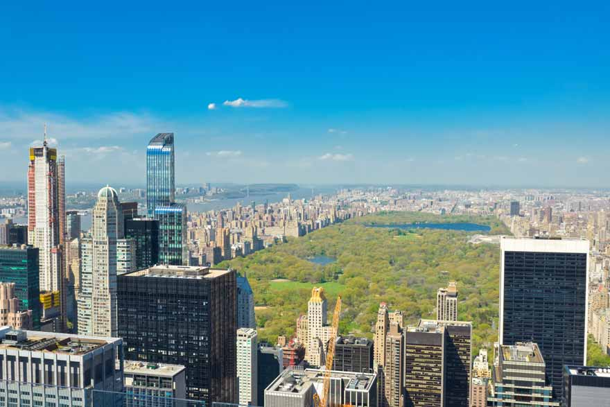 Blick von einem Wolkenkratzer in NYC in den Central Park.