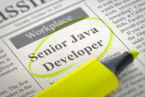 Eine Zeitungsanzeige, auf der zu sehen ist das ein Senior Java Developer gesucht wird