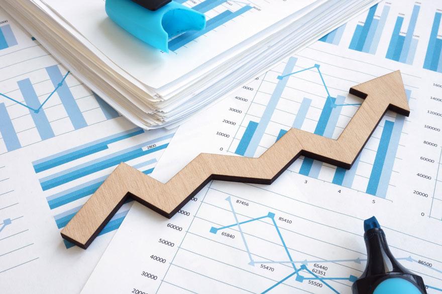 Geschäftsbericht in Form von Diagrammen.