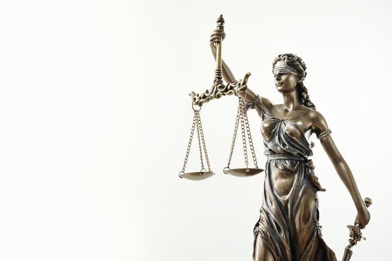 Brozene Justicia auf weißem Grund.