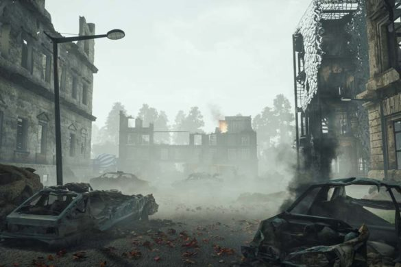 Ein zerstörter Straßenzug nach einem apokalyptischen Ereignis.