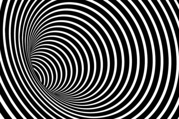 Illusionstunnel in schwarz/weiß