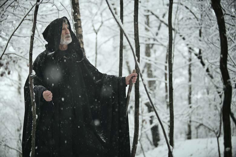Der innere Weiße mit einem Gehstock im winterlichen Wald