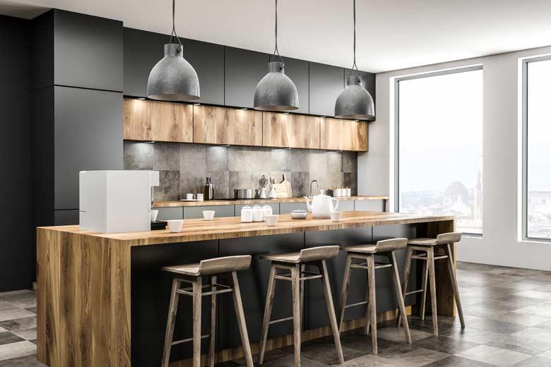 Coole moderne Küche in einer Berufstätigen WG