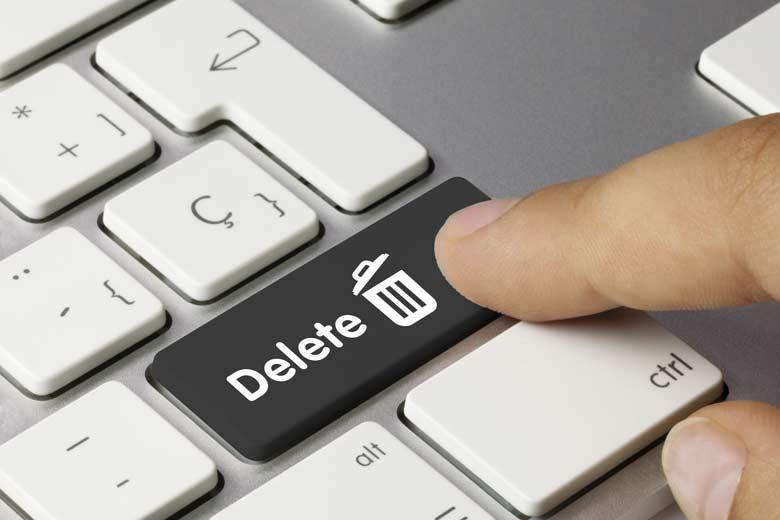 Nahaufnahme einer Tastatur mit einacer Delete-Taste