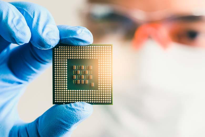 Nahaufnahme eines Mikrochips