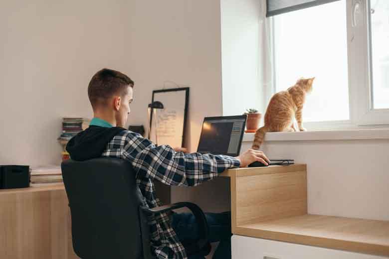 Ein Student arbeitet aufgrund des Coronavirus zuhause am schön eingerichteten Schreibtisch an einem Projekt