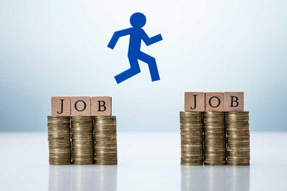 Piktogramm Figur springt von einem Job zum nächsten