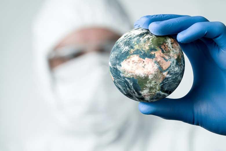 Virologe untersucht den Planeten Erde