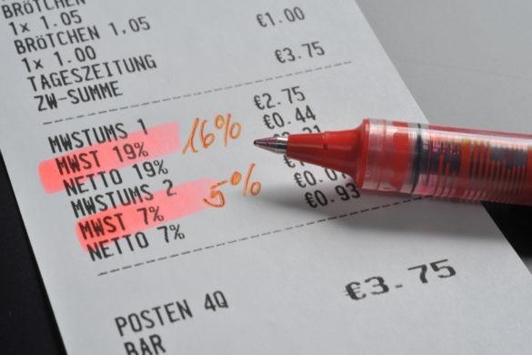 Kassenzettel mit Berücksichtigung der Mehrwertsteuersenkung