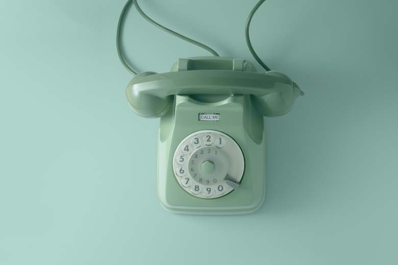 Klassisches Telefon in grün