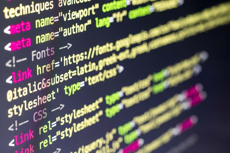 Nahaufnahme von Website Quellcode