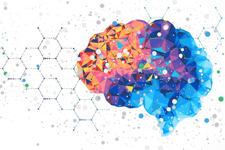 Abstrak bunte Darstellung des Gehirns vor hexagon Hintergrund