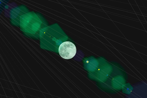 Mond in gruenem Spektrum auf 3D Liniengitter Verbildlichung Metaversum